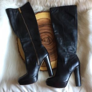 Michael Kors leather side zip boots